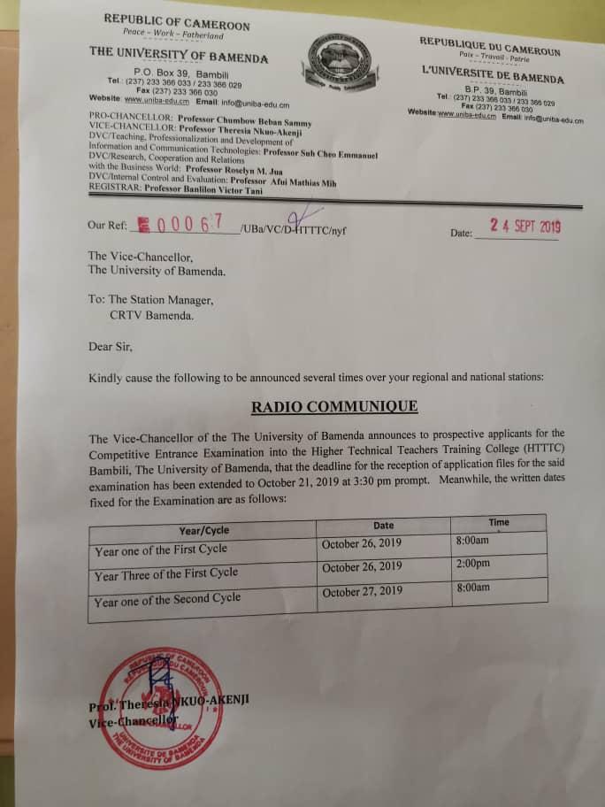Communiqué Enset BAmenda prolongation
